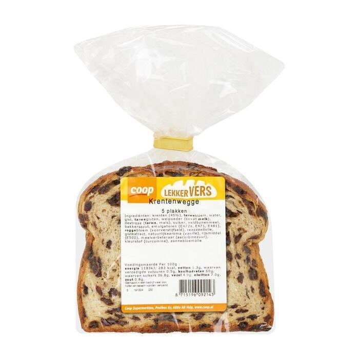 Coop Vruchtenbrood met krenten (plastic zak, 250g)
