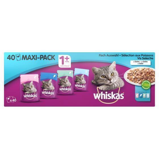 Whiskas Vis Selectie in Gelei 1+ Jaar Maxi-Pack 40 x 100 g (40 × 100g)