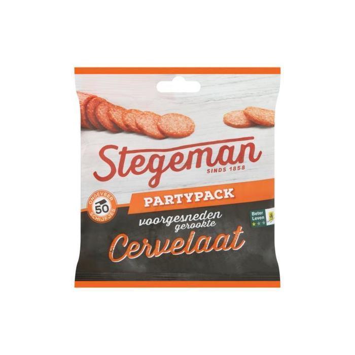 Stegeman Voorgesneden Gerookte Cervelaat Partypack 150g (50 × 3g)