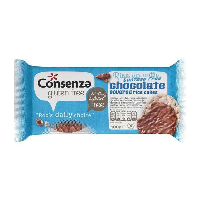 Consenza Glutenvrije & Lactosevrije Rijstwafels met Chocolade 6 Crackers 100g (100g)