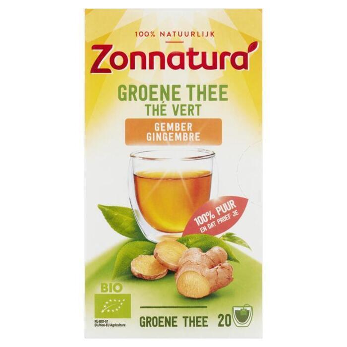 Zonnatura Groene thee gember (zakjes, 34g)
