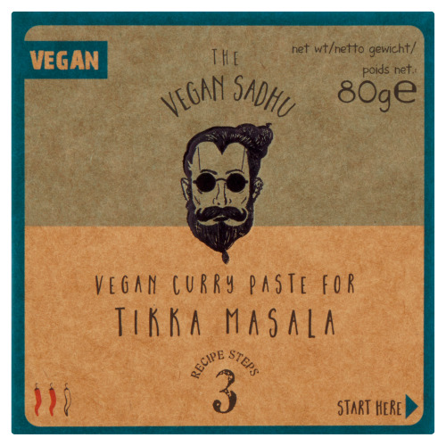 The Vegan Sadhu Vegan Curry Pasta voor Tikka Masala 80 g (80g)