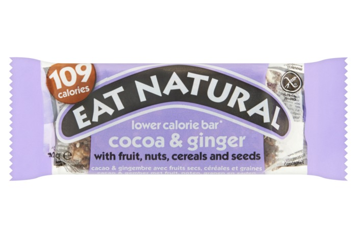 Eat Natural lower calorie bar cacao & gember met fruit noten, granen en zaden. (30g)