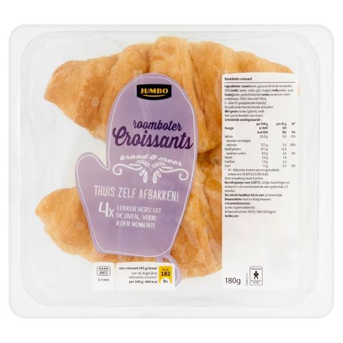 Jumbo Croissant Roomboter 4 Stuks Allerslimste Koop 180g (180g)