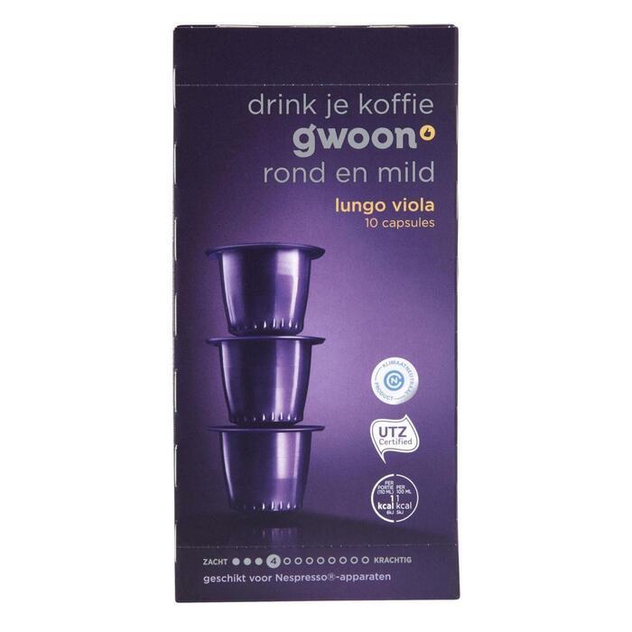 g'woon Capsules lungo viola sterkte 4 (10 × 5g)