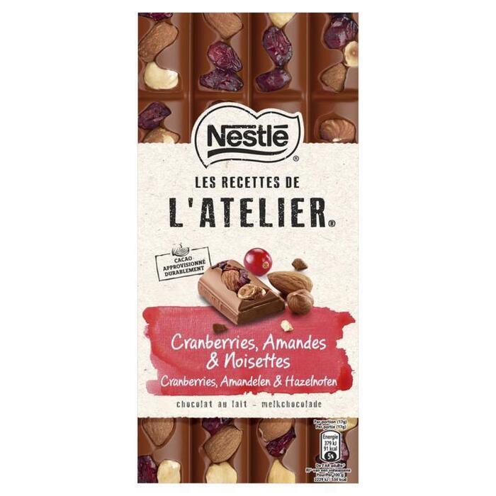 NESTLE LES RECETTES DE L'ATELIER Chocolade Melk Cranberry Hazelnoot Amandel 170 Gram Wikkel (170g)