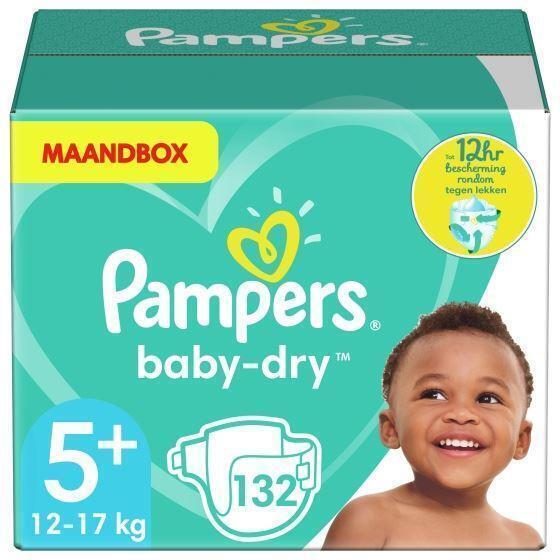 Pampers Baby-Dry Maat 5+, 13-25 kg, x132 Luiers, Maandbox