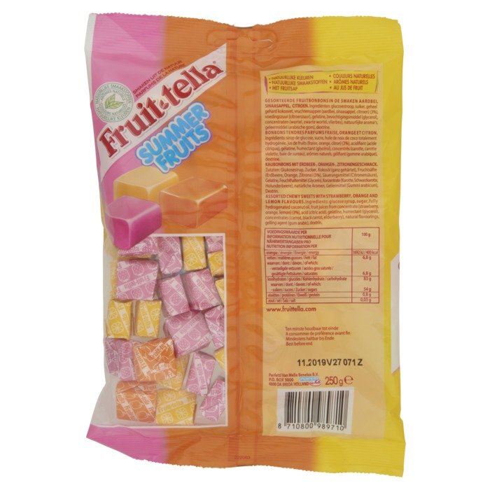 FRUITTELLA  Summer Fruits Snoep 250 GR Zak (250g)