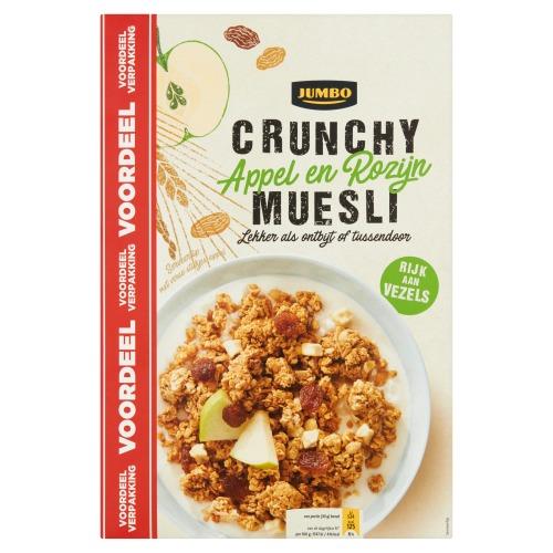 Jumbo Crunchy Appel en Rozijn Muesli Voordeelverpakking 900 g (900g)