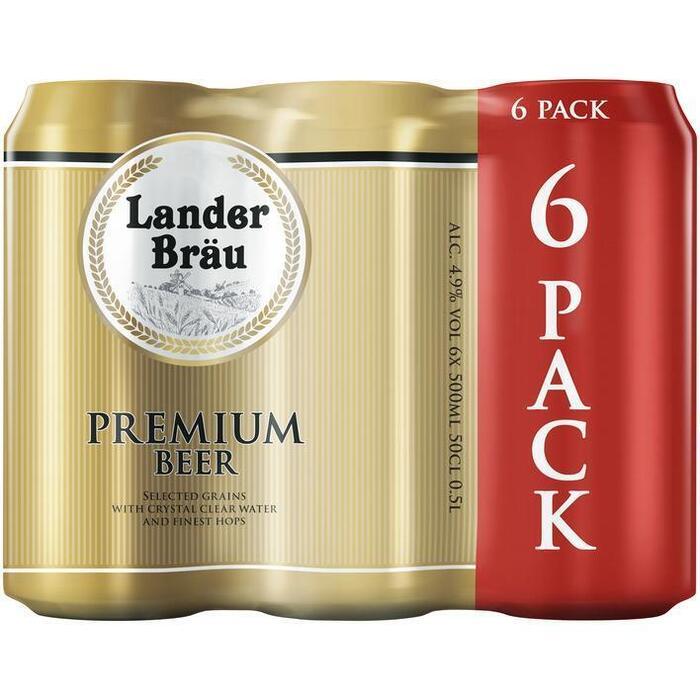 Lander Bräu Premium Beer (blik, 6 × 0.5L)