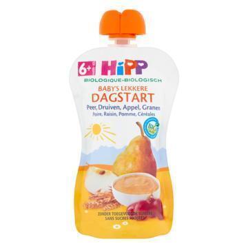 HiPP Biologisch Baby's Lekkere Dagstart Peer, Druiven, Appel, Granen 6+ Maanden 100 g (100g)