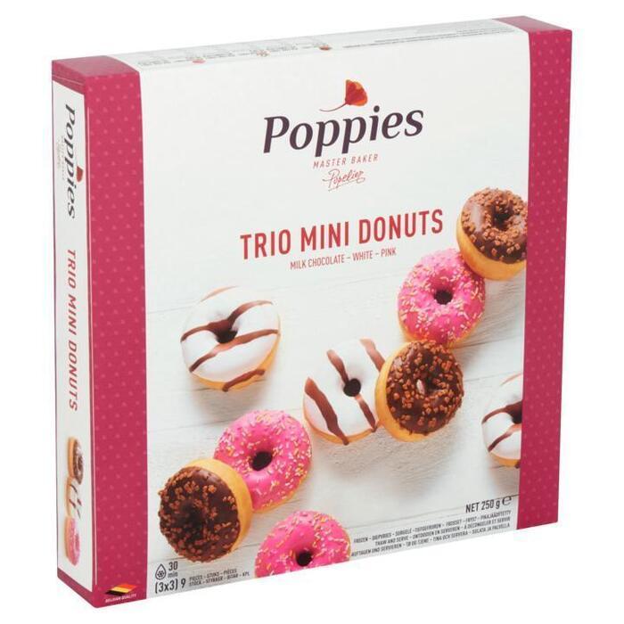 Poppies Trio Mini Donuts 9 Stuks 250g (250g)