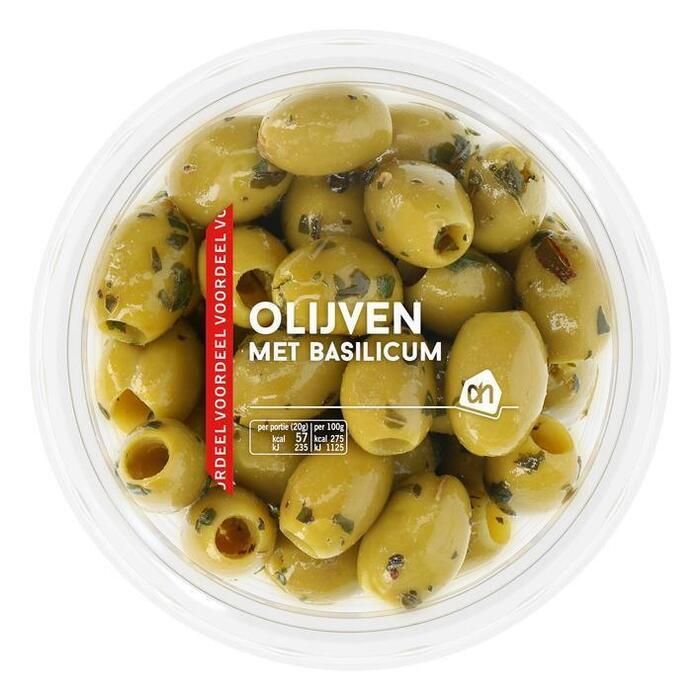 Groene olijven met basilicum (bak, 315g)