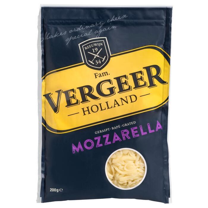 Vergeer Holland Geraspt Mozzarella Kaas 40+ 200 g (Stuk, 260g)