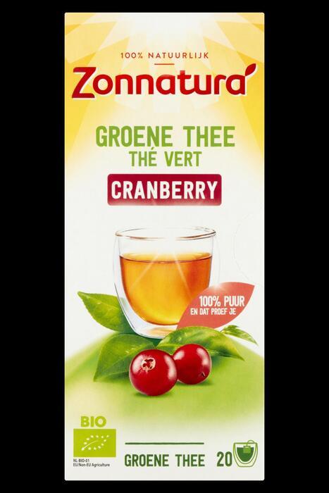 Zonnatura Groene thee cranberry (36g)