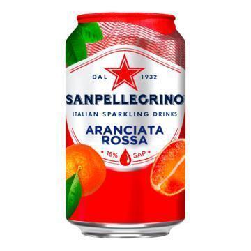SANPELLEGRINO® Arianciata Rossa Bruisende Vruchtendrank Blikje 0, 33L (rol, 6 × 33cl)